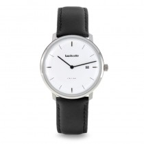 Lambretta watches ~ Volta 39 Leather Silver White Black -2240SIL (Man Style)
